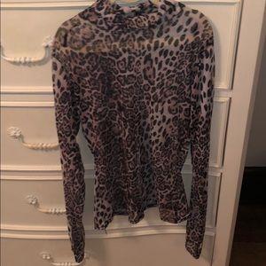 Nasty Gal Mesh Leopard Turtleneck